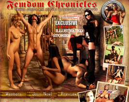 Dominant women, strict mistresses, powerful goddesses, ruthless princesses are the main heroes of FemDomChronicles` exclusive only comics, artworks, 3D series and illustrated stories!